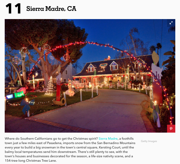Sierra Madre Tattler >> The Sierra Madre Tattler!: Country Living Magazine: Sierra Madre One Of The Top 20 Christmas ...