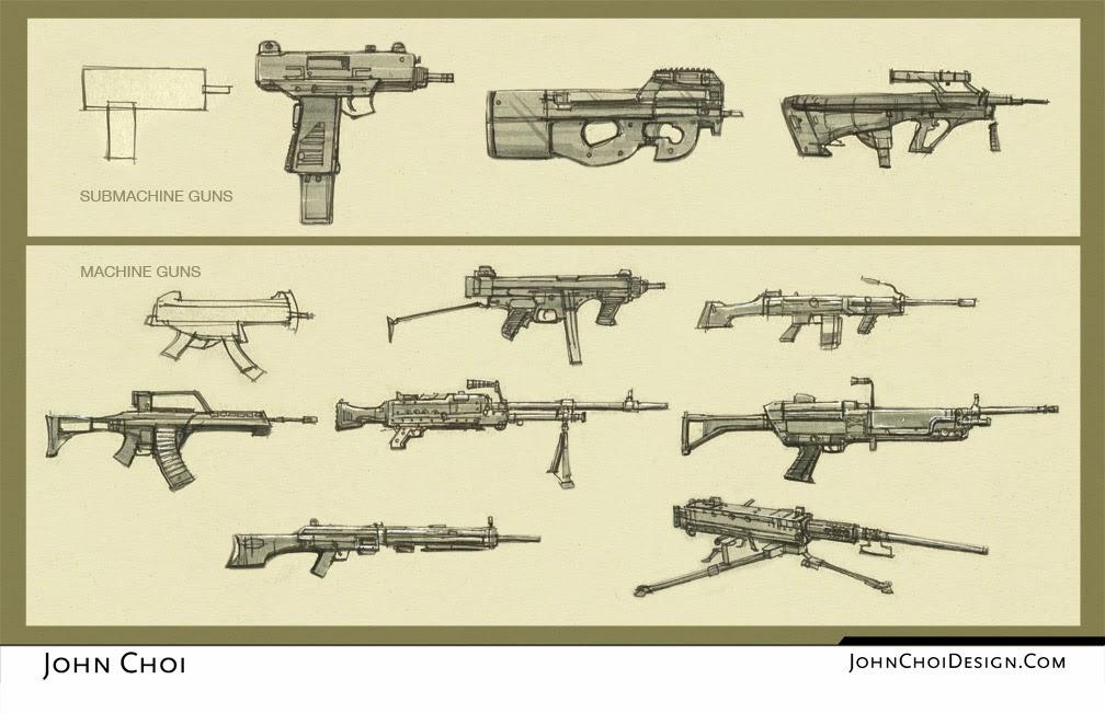 drawings of machine guns