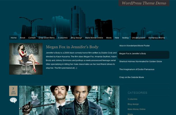 Abstract Movies Blue Blog WordPress Theme Template