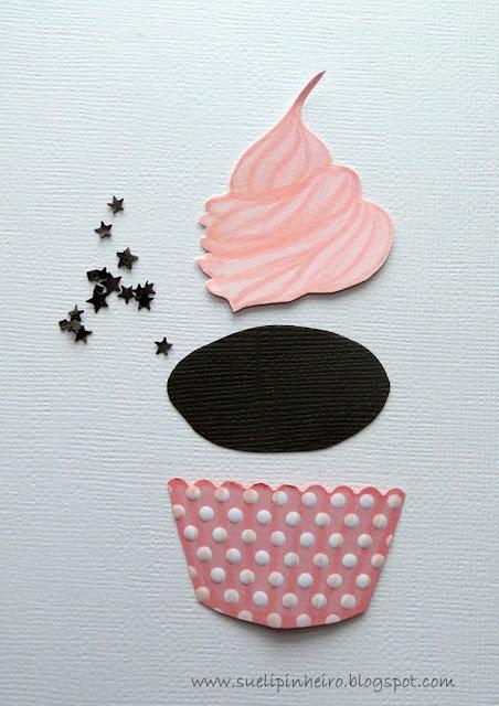 Tarjeta con cupcake paper piecing