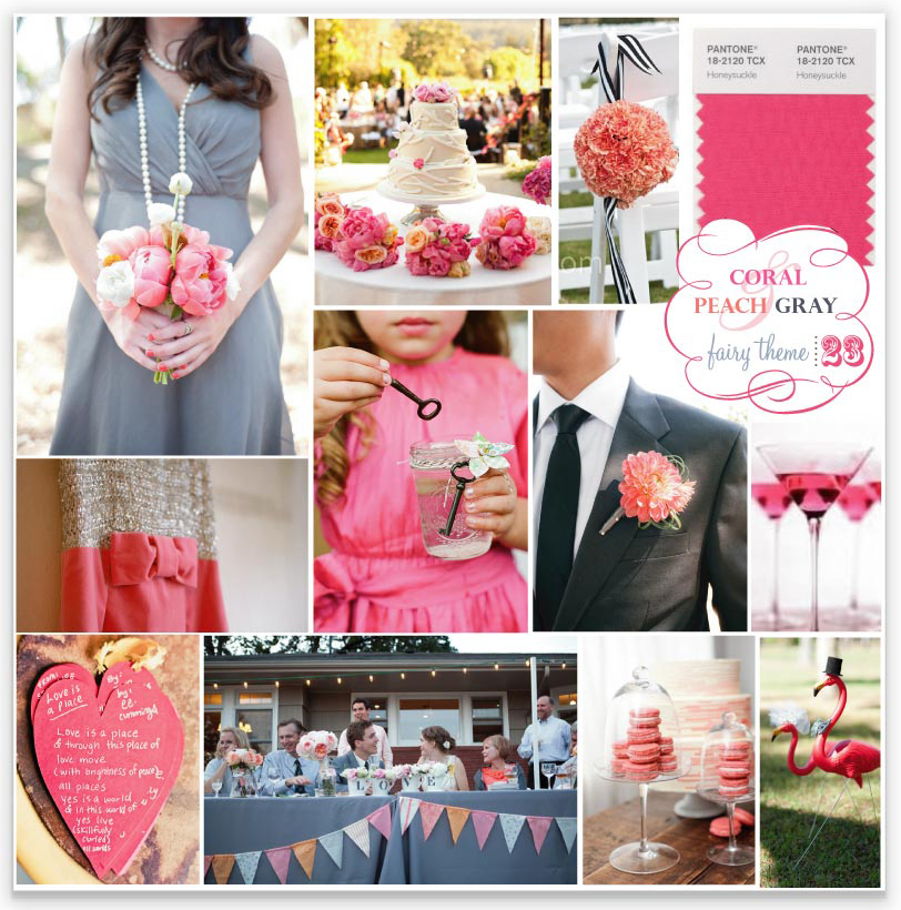 gray and coral wedding
