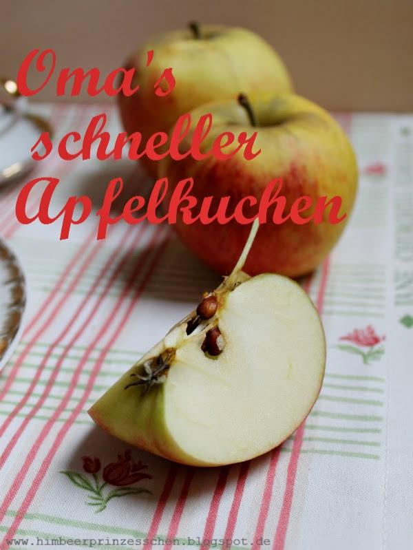 Omas schneller Apfelkuchen Apfel Tischdecke Himbeerprinzesschen