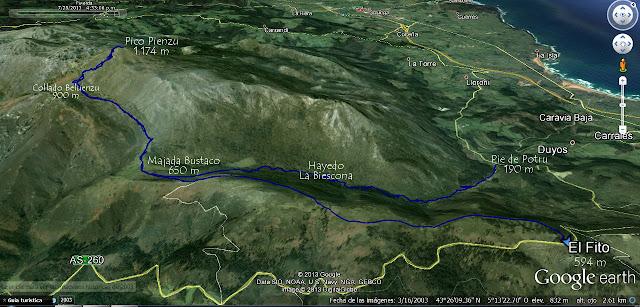 Mapa ortográfico Ruta Pico Pienzu por Hayedo de la Biescona - Asturias