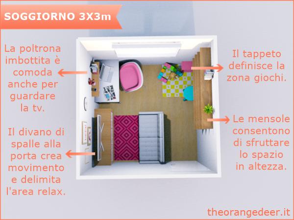 The orange deer: arredare un soggiorno quadrato