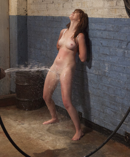 Girl tied naked streached