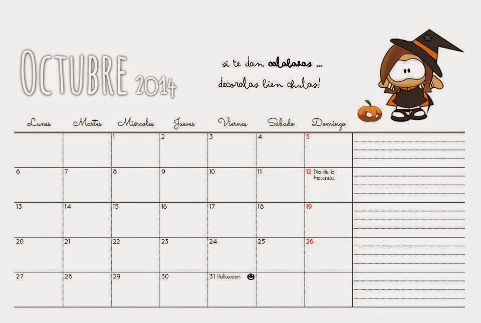 Fondo de escritorio con calendario de Octubre
