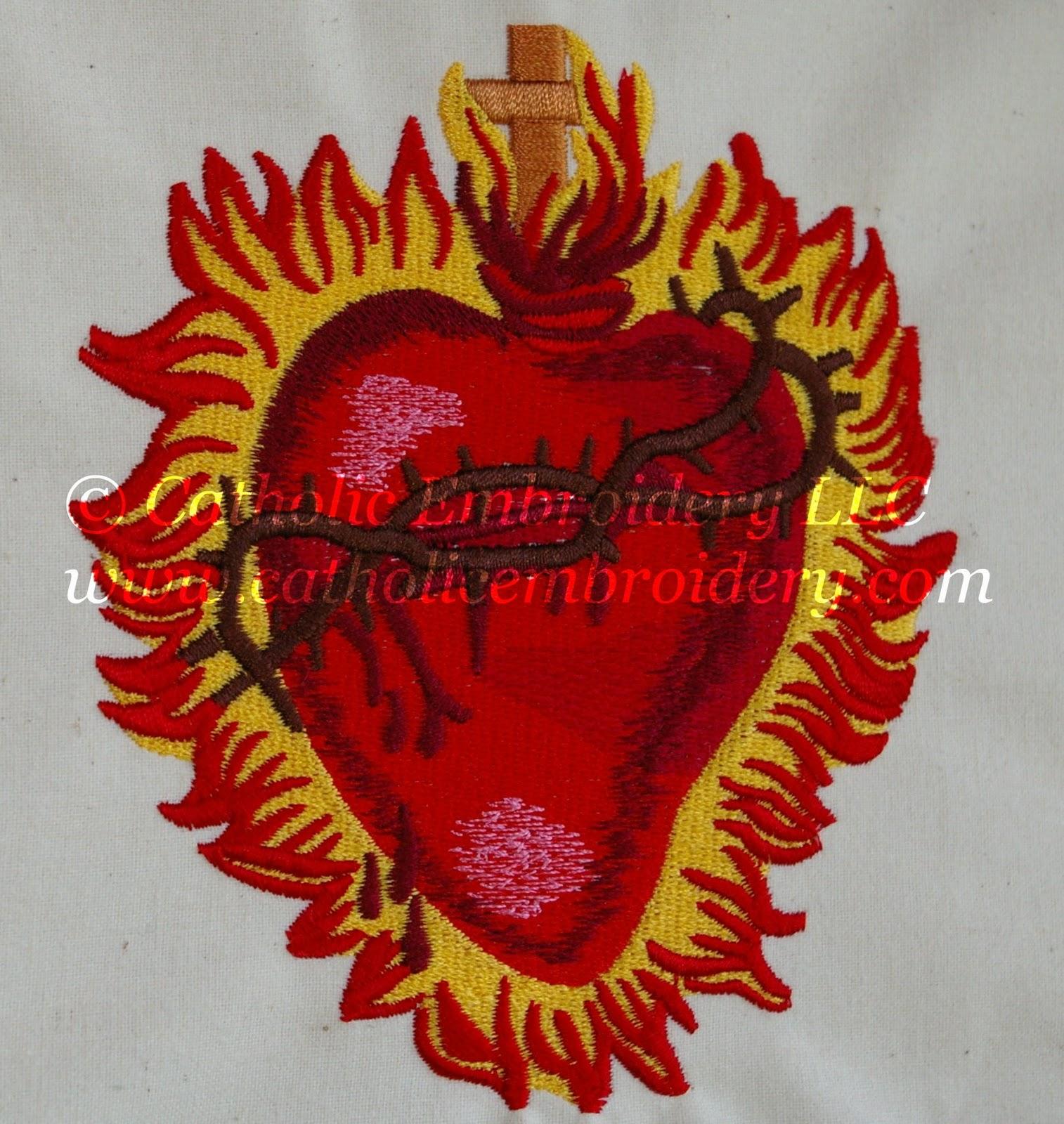 Catholic Embroidery Project Sacred Heart Vesica