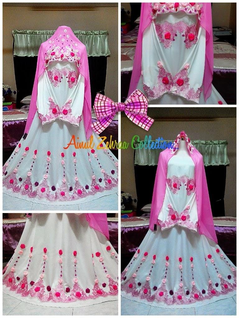 Dress Nikah Muslimah Pink Putih