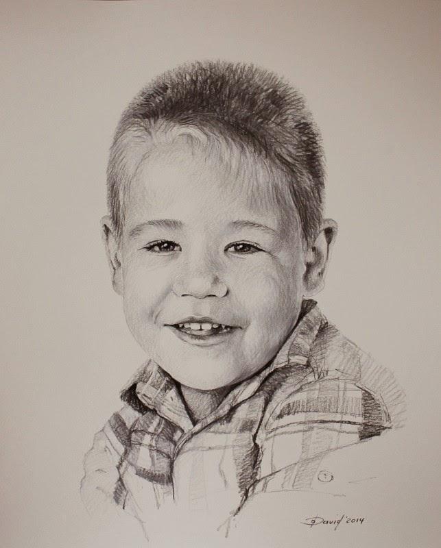 Portrait eines Jungen, Jungenportrait, Junge, Zeichnung