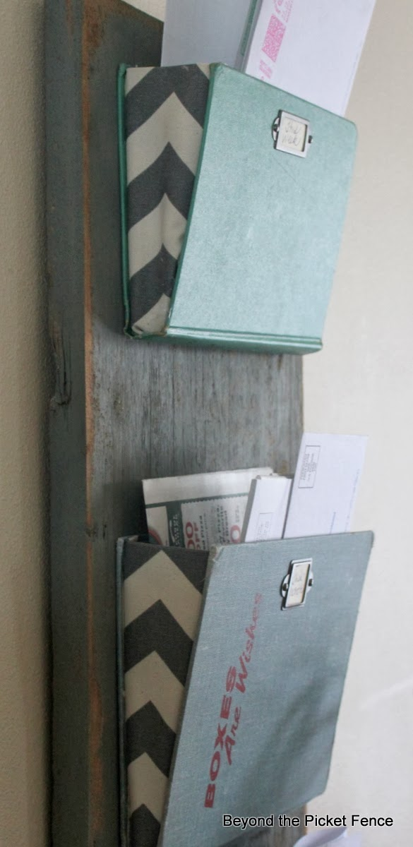 mail organizer old books http://bec4-beyondthepicketfence.blogspot.com/2014/01/old-book-mail-organizer.html