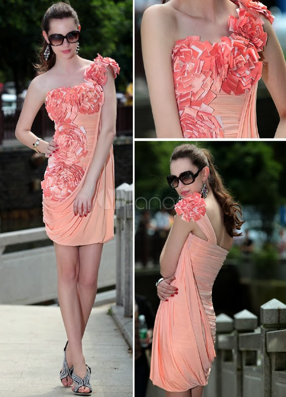 China Wholesale Dresses - Sweet Pink Silk Like Saatin Flower One Shouder Cocktail Dress
