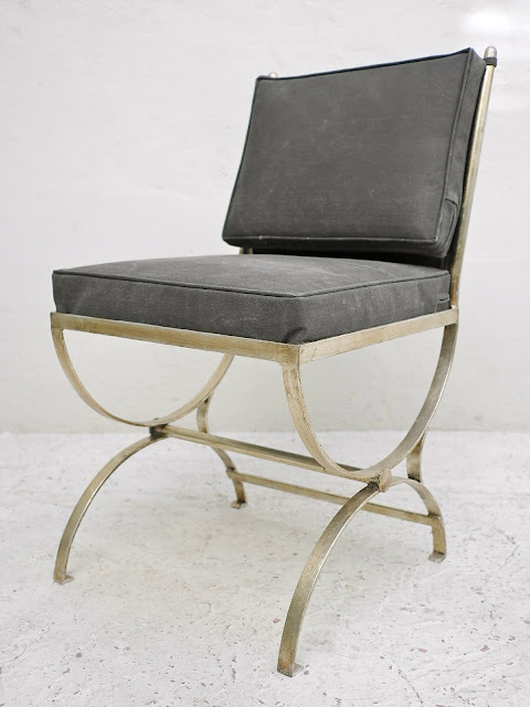 Romana Side Chair made with wrought iron, shown in a silver leaf finish