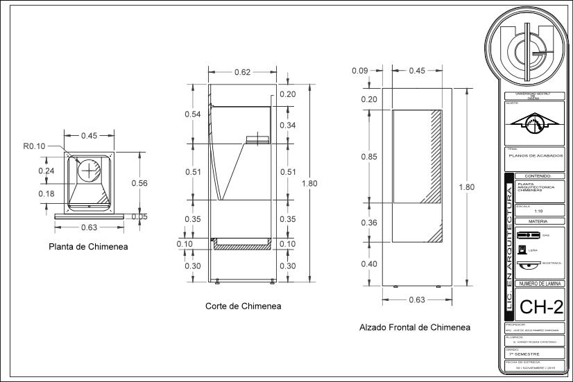 Fichas t cnicas y planos de detalles de chimeneas Planos de chimeneas de lena