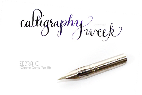 Eula sleeps calligraphy week zebra g comic pen nib chrome