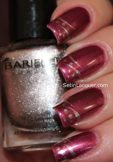 Dots and stripes nail art using Barielle nail polish