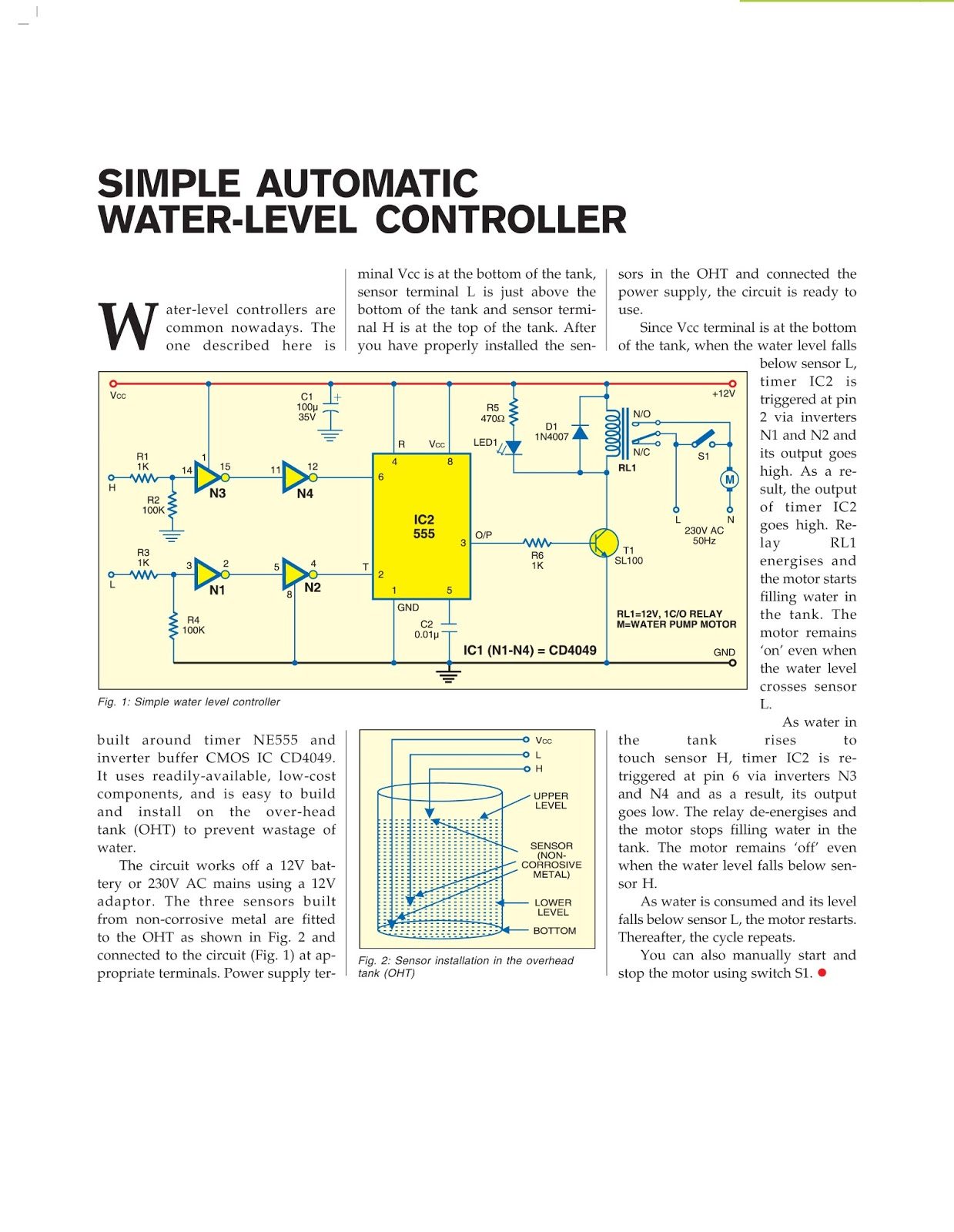 Electronic projects and ideas simple automatic water level controller simple automatic water level controller pooptronica Gallery