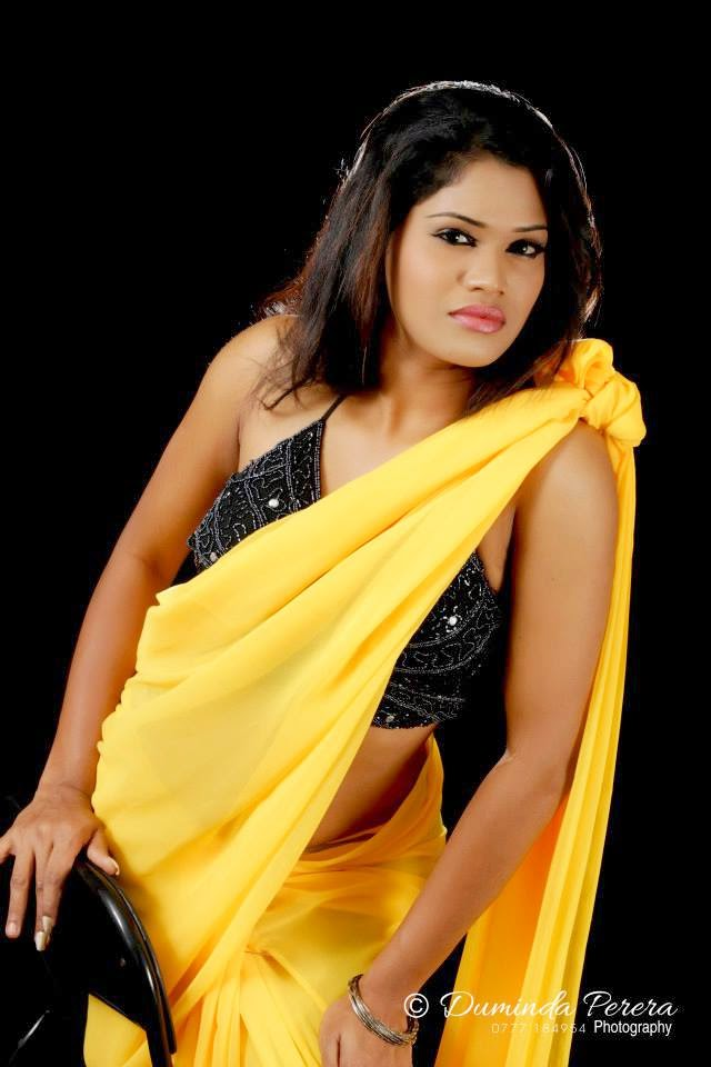 Ayesha Madushani yellow saree