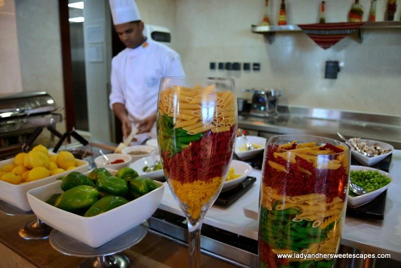 pasta station at Al Murjan in Oceanic Hotel