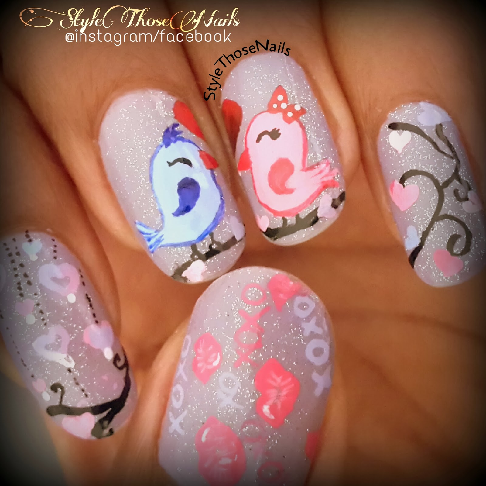 Style Those Nails: Tweeting Kisses !! Kiss Day Valentine\'s Nailart