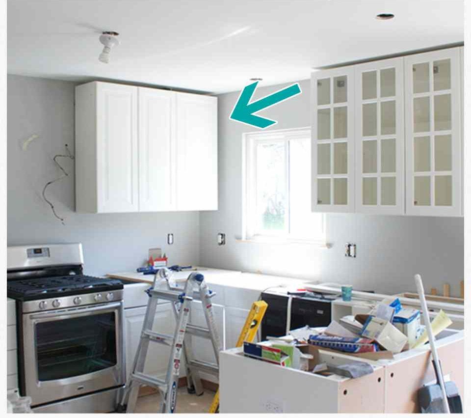 How to hide a soffit in akurum upper cabinet ikea for Akurum kitchen cabinets
