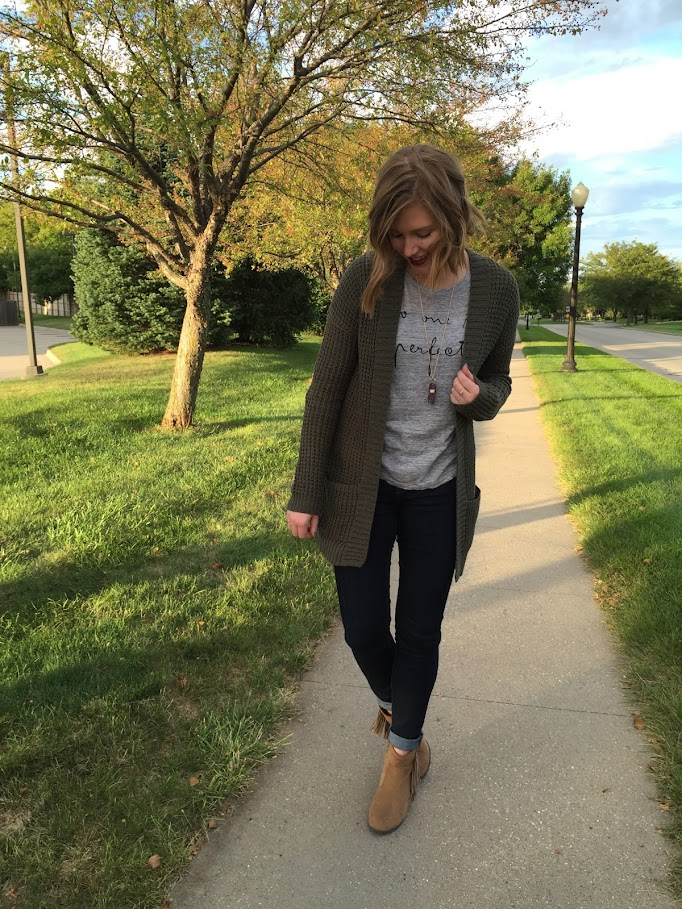 A textured cardigan perfect for fall layering.