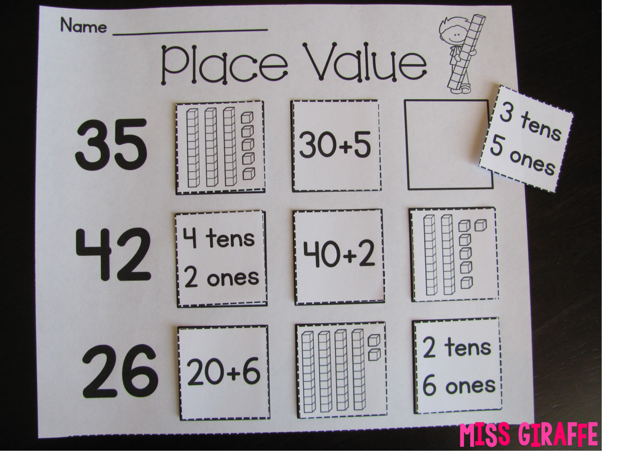 Worksheet First Grade Place Value Activities miss giraffes class place value in first grade okay