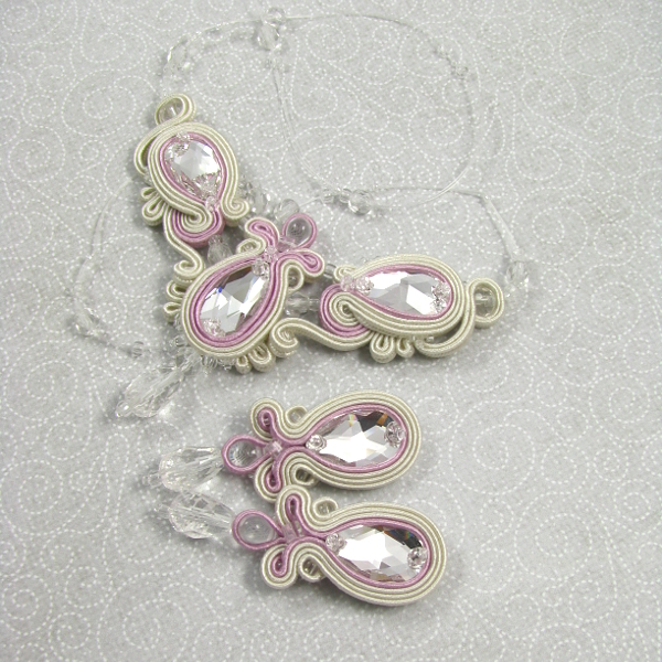 Naszyjnik i kolczyki ślubne sutasz