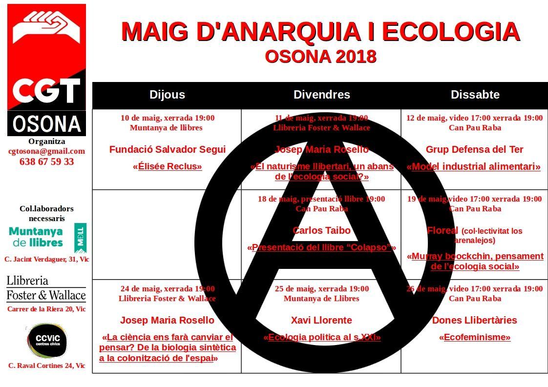 Jornades sobre Anarquia i Ecologia durant el mes de maig a Vic