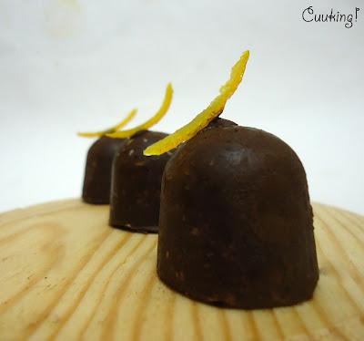 Bombones chocolate de naranja confitada