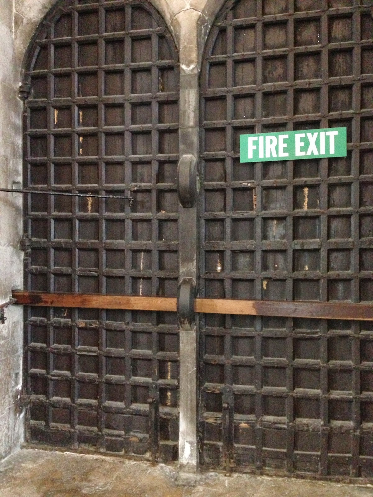 Barred door fire exit at Wells Cathedral