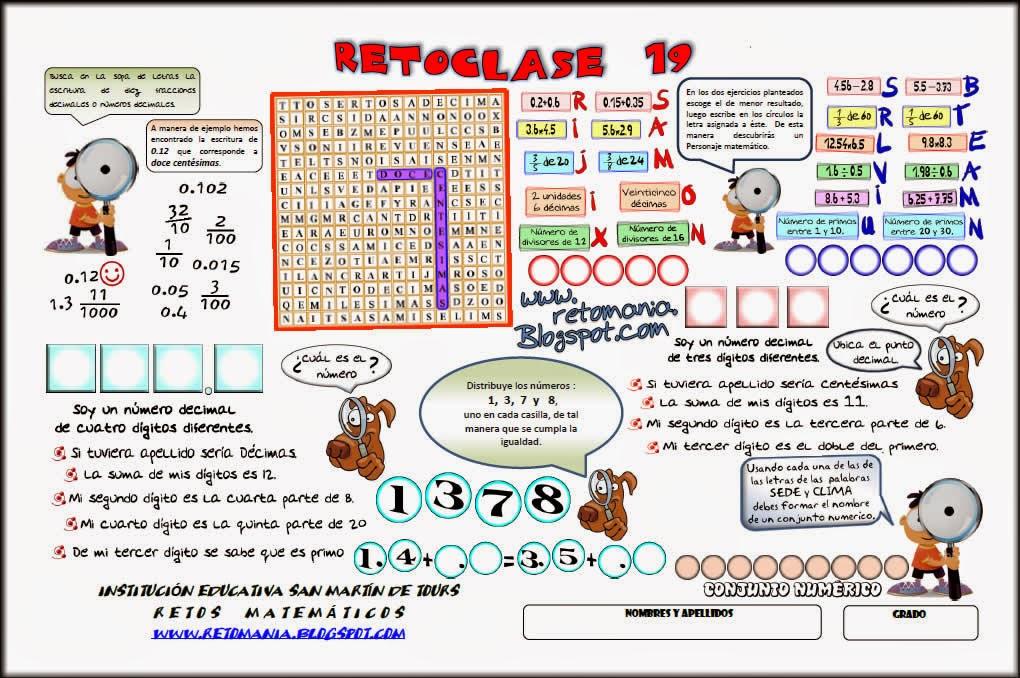 Reto matemático, Desafío matemático, Problema matemático, Decimales, Descubre el número, Problemas para pensar, Arma la operación, Anagrama, Sopa de letras, Descubre el número, Descubre el personaje