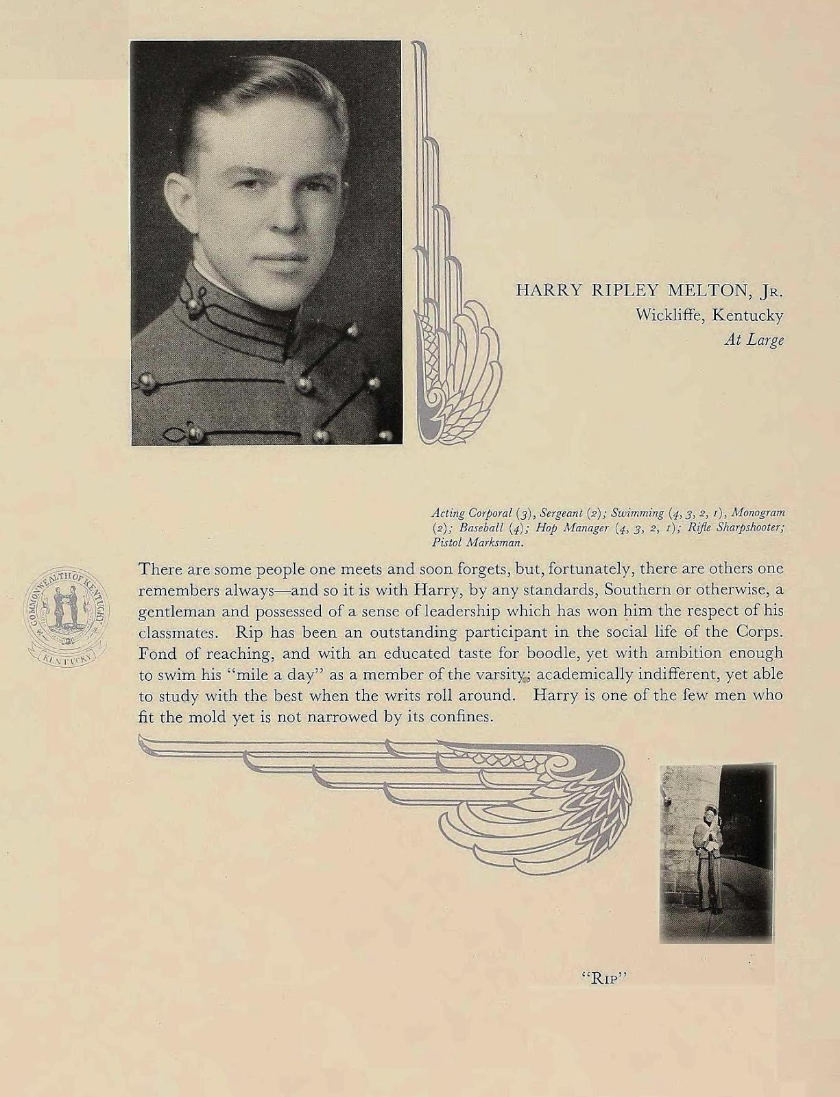 Harry Ripley Melton, Jr. from the 1936 West Point yearbook