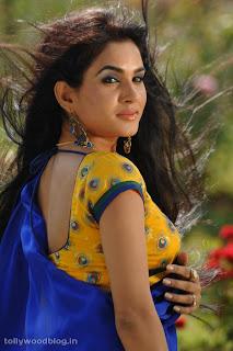 Kavya Singh in Stunning Blue Saree Yellow Blouse Lovely Pics