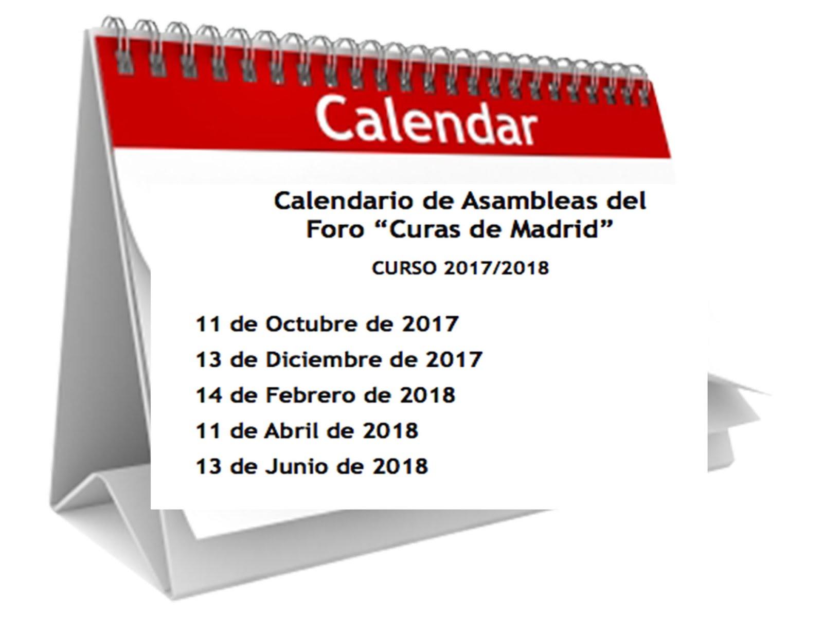 Calendario Asambleas  2017-2018