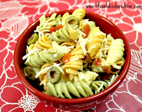 Quick and Easy Italian Pasta Salad with cheese, chicken pasta salad