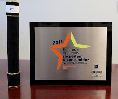 Na imagem: Prêmio recebido pelo SBT. Foto: Lourival Ribeiro/SBT
