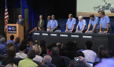 Curiosity MSL lands on Mars. Press conference post touch-down on Mars. 6 August 2012. NASA/JPL.