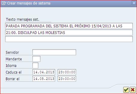 Crear mensaje de sistema con SM02