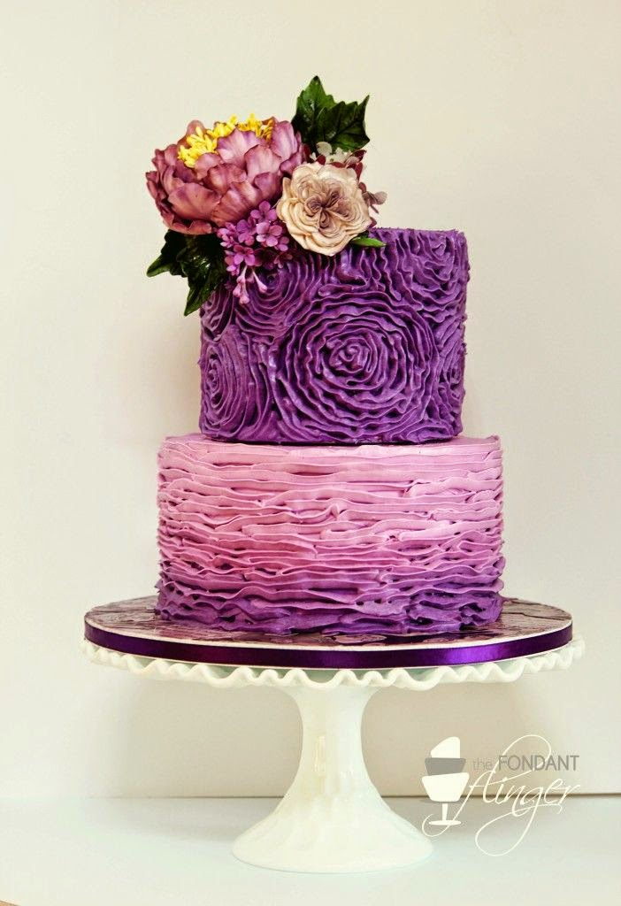 Purple Wedding Ideas Cake and Flowers
