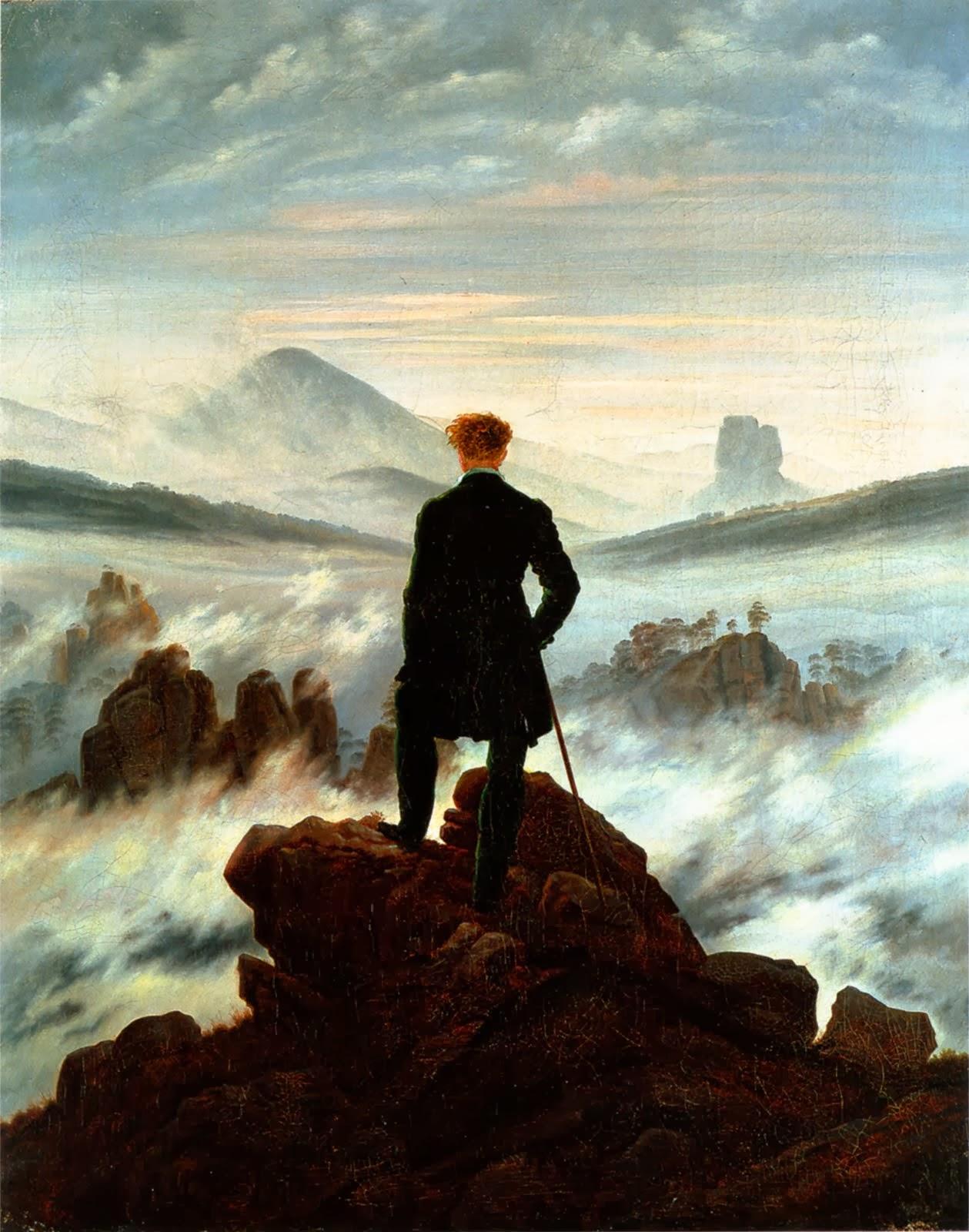 Llega más lejos con el pensamiento. (En la imagen: Caspar David Friedrich, El viajero ante un mar de nubes, 1818)