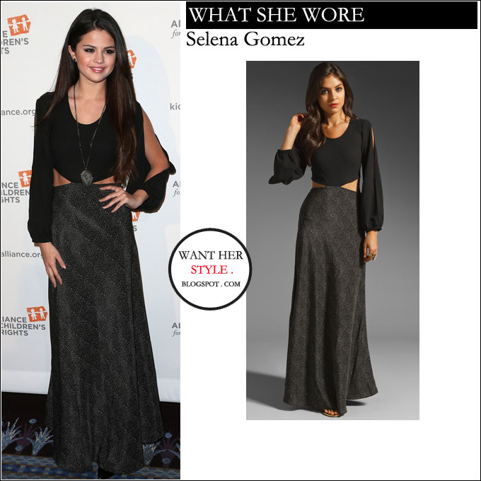 Hey!!    Selena+gomez+in+maxi+polka+dot+black+side+cut+out+dress+on+march+7+2013+in+beverly+hills+at+The+Alliance+For+Children%E2%80%99s+Rights%E2%80%99+21st+Annual+Dinner+style+red+carpet