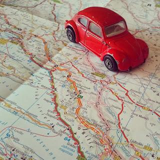 Urlaubsvorbereitung, Käfer, Landkarte