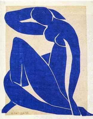 blue paper cut out by Henri Matisse of a woman