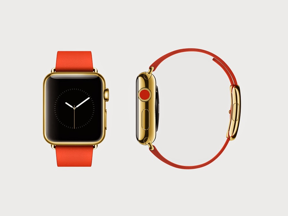 Apple iWatch made in 18K Yellow Gold with red strap