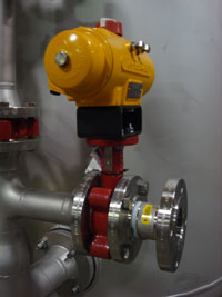 A Bray valve with a hytorx-131 actuator and a flow control on the condensate polisher