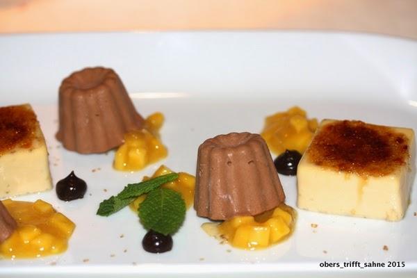 Creme Brûlée von Tonkabohne mit Schokoladenparfait und Mangosalat - Anastasia Weimar