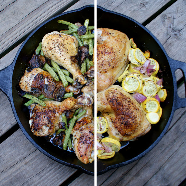 Cast Iron Skillet Chicken and Summer Vegetables | thetwobiteclub.com