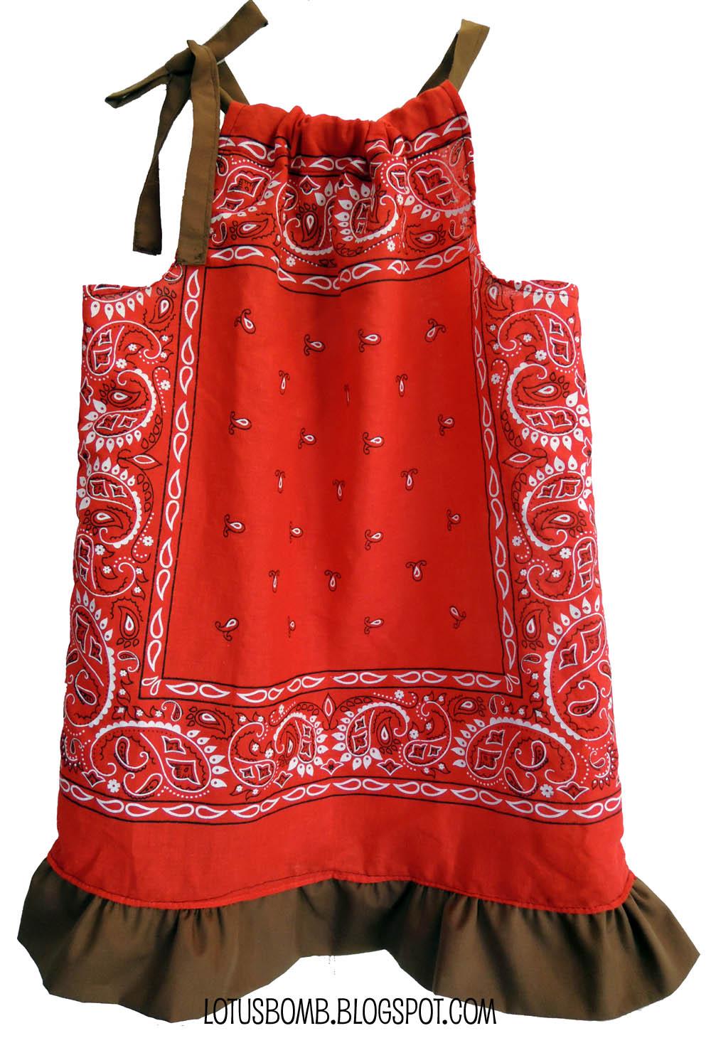 The Crafty World of LotusBomb: Day 1 - Pinterest 30 Day Craft Challenge - Bandana Pillowcase Dress