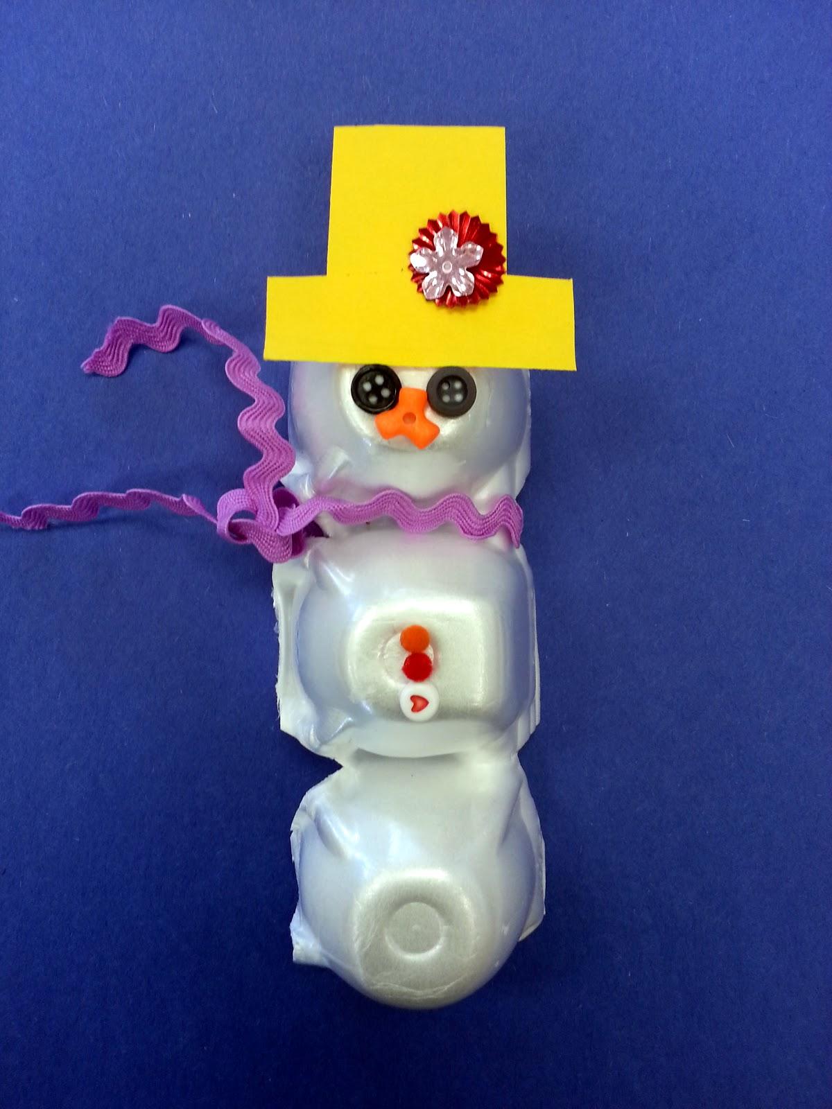 Choices for children egg carton snowmen for Egg carton christmas crafts