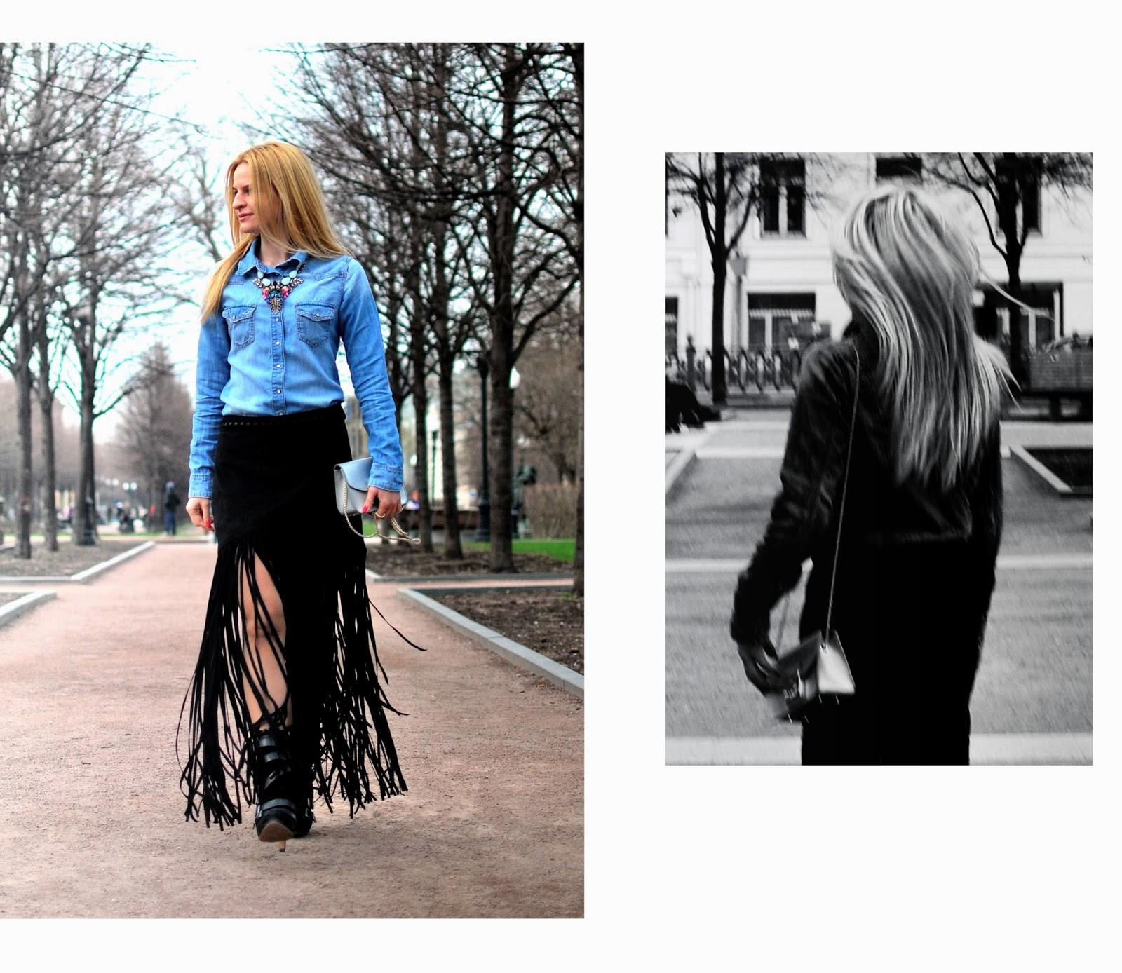 как носить тренд бахрома,с чем носить джинсовую рубашку, как носить джинсовую рубашку,винтажное колье,Ирина Павлова блог